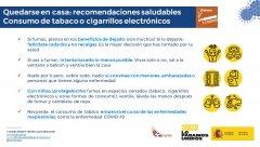 Quedarse en casa: recomendaciones saludables - Consumo de tabaco o cigarrillos electrónicos